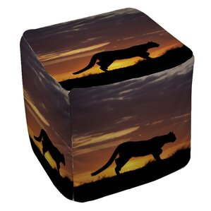 Cougar Silhouette Ottoman by Manual Woodwork..
