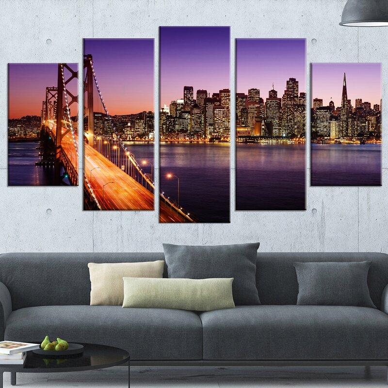 U0027San Francisco Skyline And Bay Bridge Sea Bridgeu0027 5 Piece Wall Art On  Wrapped. U0027