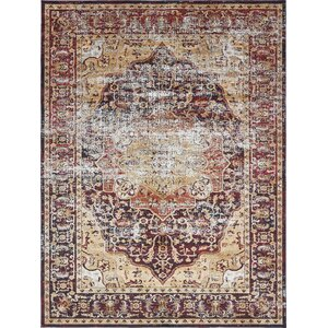 Koury Beige/Red Area Rug
