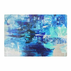 Geordanna Fields Walked On Water Abstract Blue/Teal Area Rug