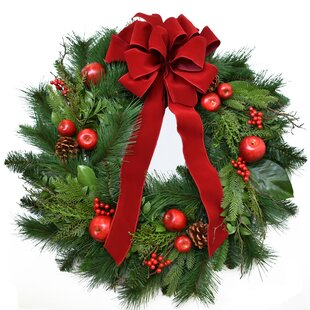 designer 30 winter pine christmas wreath - Large Christmas Bows