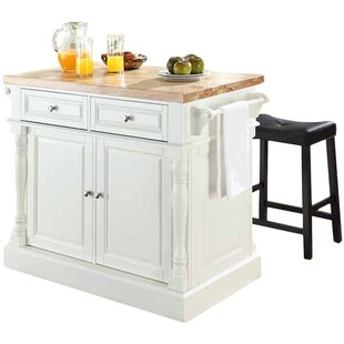 Haslingden 3 Piece Kitchen Island Set with Butcher Block Top