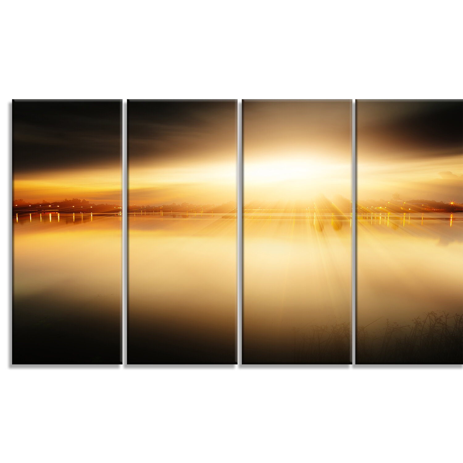DesignArt \'Sunset with Views on the Lake\' 4 Piece Wall Art on ...