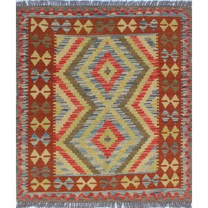 One-of-a-Kind Vallejo Kilim Hawa Hand-Woven Wool Blue Area Rug