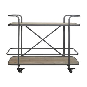 Micheala 2 Tier Wood Bar Cart by 17 Stories