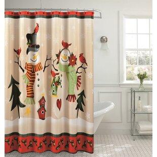 Christmas Holly Bird Single Shower Curtain