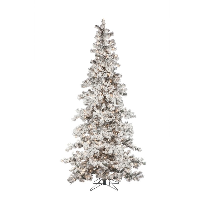 heavy flocked layered 75 white spruce artificial christmas tree with 550 clear lights with stand