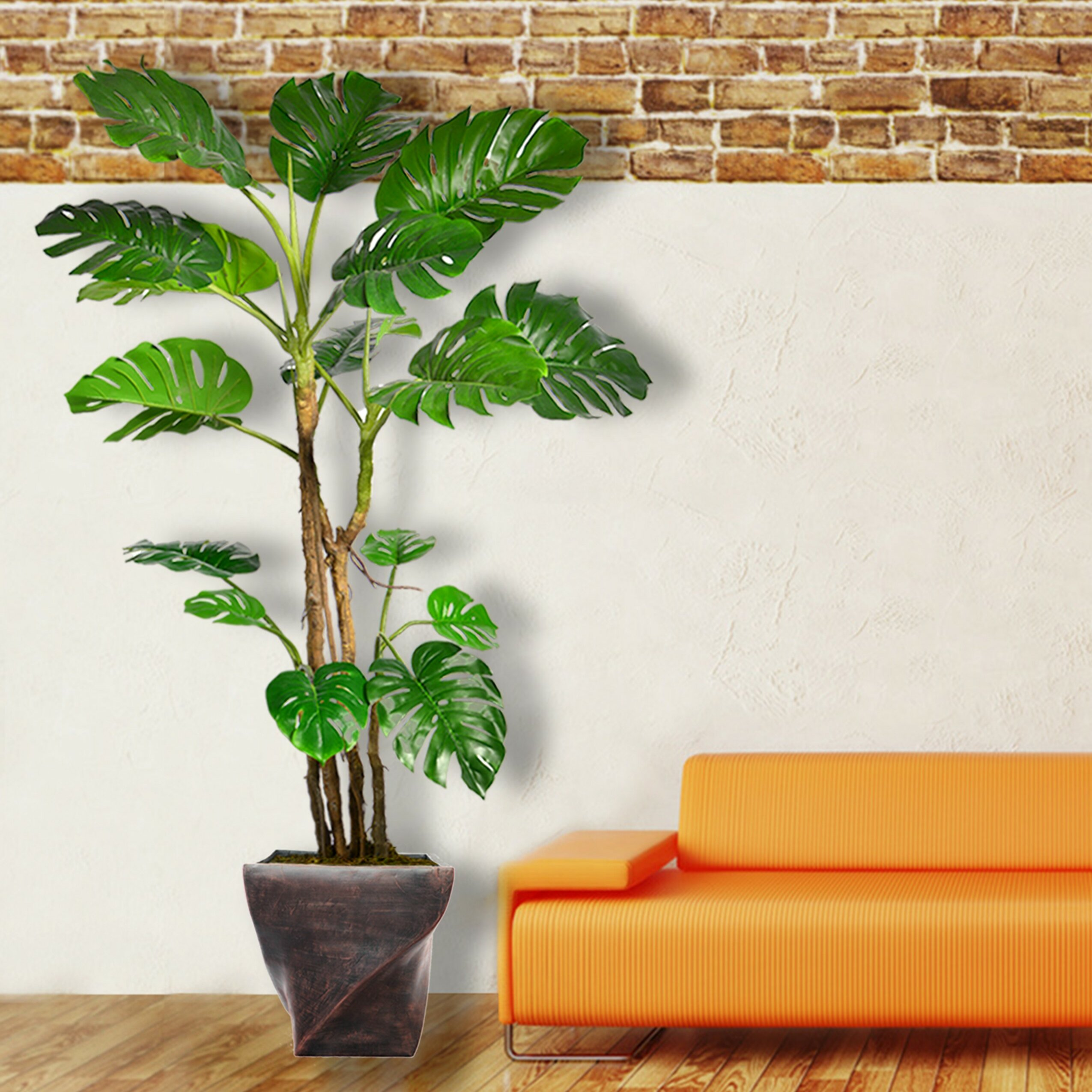 17 Stories Monstera Artificial Home Decor Floor Foliage Tree In Planter