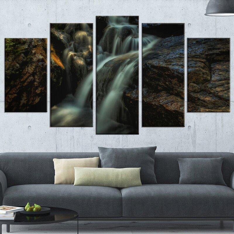 DesignArt \'Slow Motion Waterfall in Summer\' 5 Piece Wall Art on ...