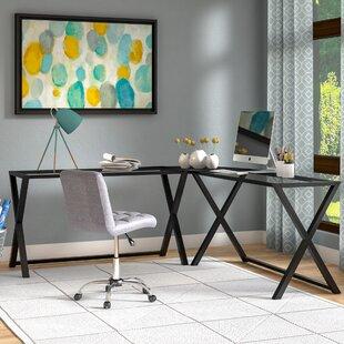 Odalis 3 Piece Corner X Frame L Shape Computer Desk