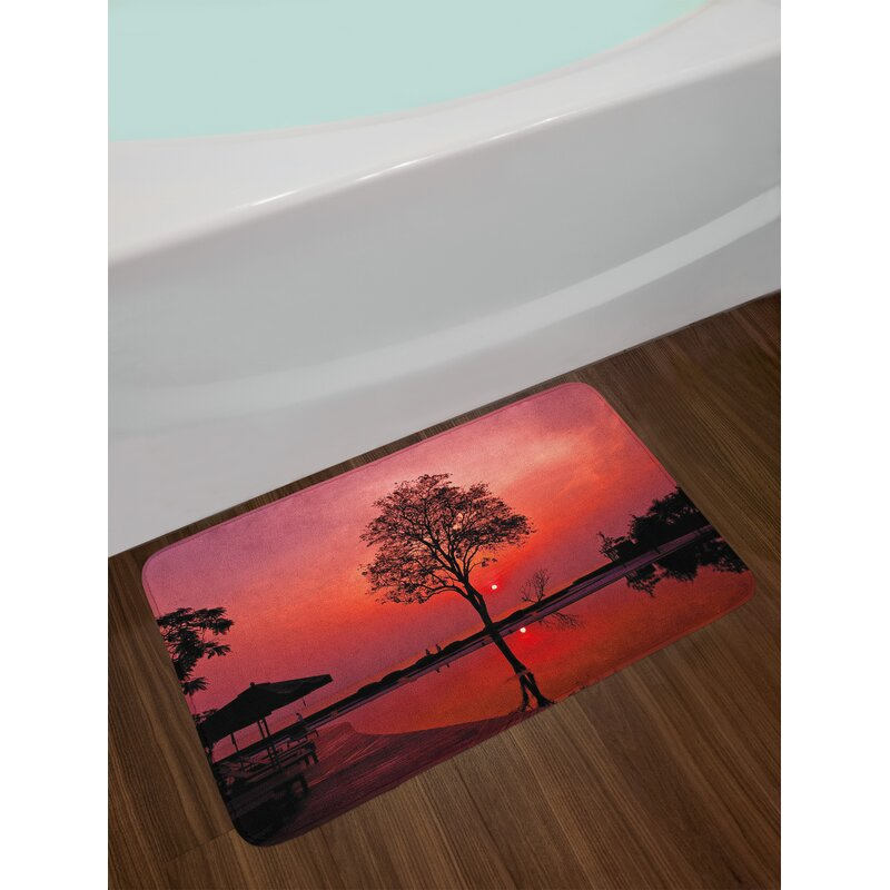 Sunrise Silhouette of Misty Twilight Sky with Tree and Nature Reflections Exotic Image Non-Slip