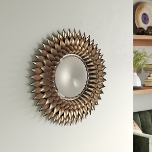 a88d53b9955 Round Galvanized and Weathered Silver Decorative Wall Mirror