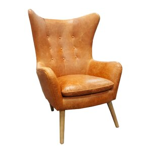 Elm Top Grain Leather Wingback Chair by West..
