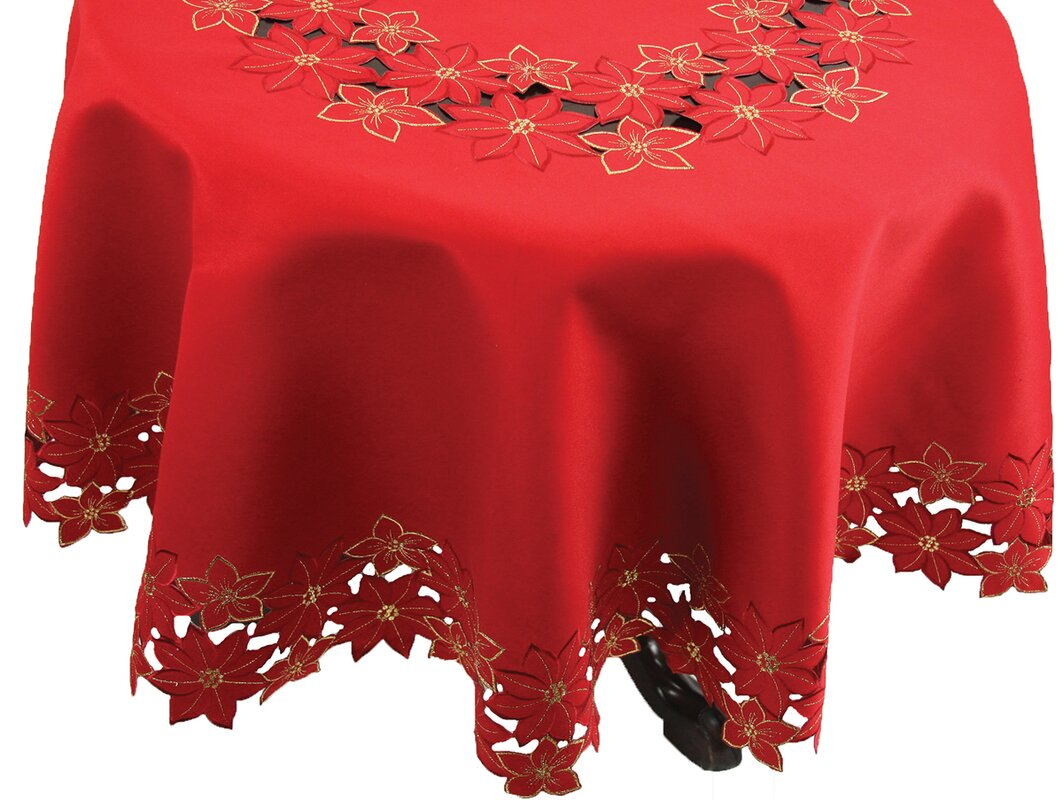 Festive Poinsettia Embroidered Cutwork Round Christmas Table Cloth