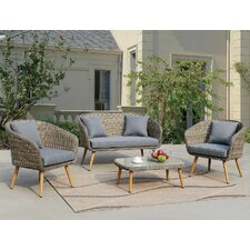 Lilah 4 Piece Gray Deep Seating Group with Cushion