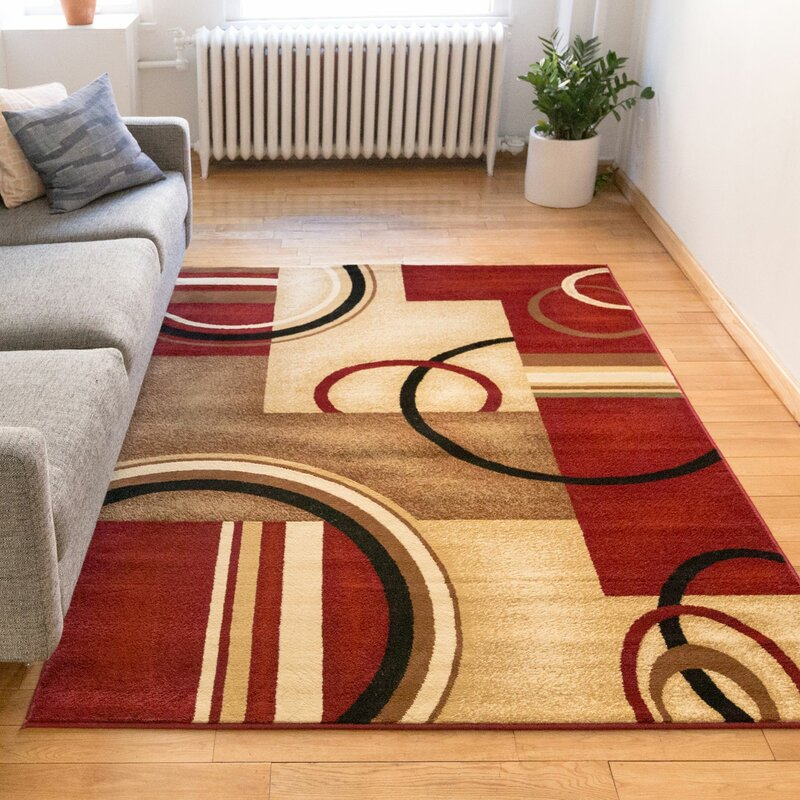 Daniel Red Arcs U0026 Shapes Area Rug
