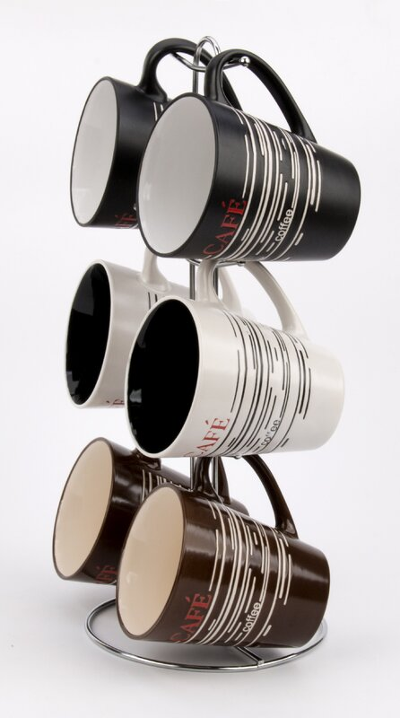 V Shaped Coffee Mug Set With Stand