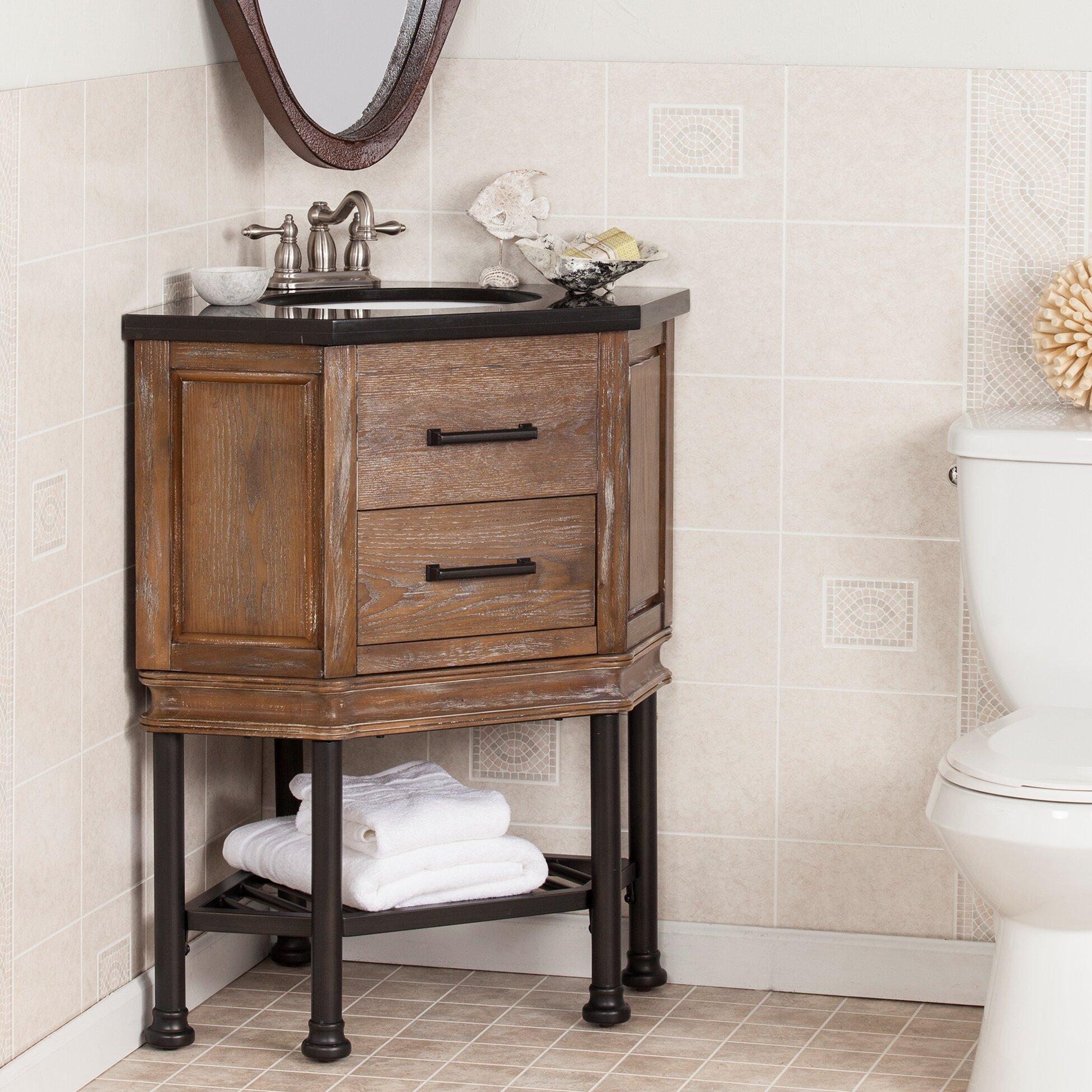 Laurel Foundry Modern Farmhouse Valensole 32 Single Corner Bath Vanity Sink With Granite Top Reviews Wayfair