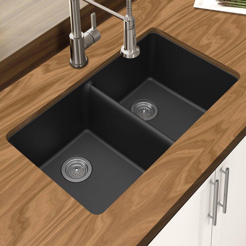 "Kitchen Sink 19 X 33: Winpro Granite Quartz 33"" L X 19"" W Double Bowl Undermount"