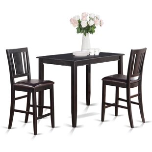 Lightner 3 Piece Counter Height Solid Wood Dining Set