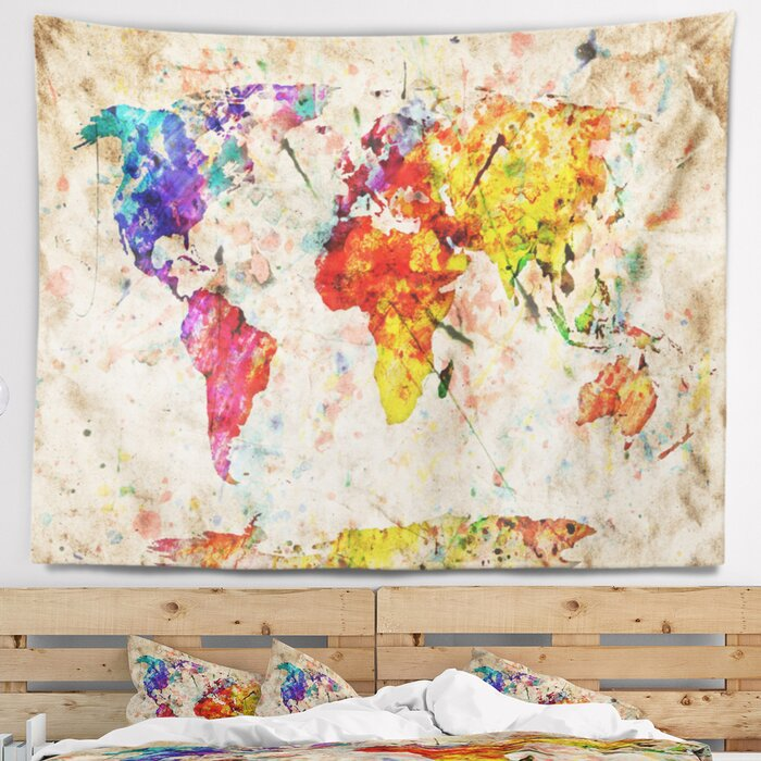 Vintage World Map Watercolor Tapestry on