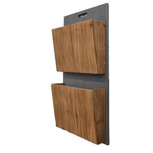 Wooden Wall Storage 2 Tier Magazine Rack
