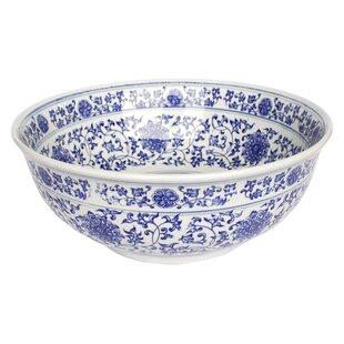 Ming Dynasty Decorative Vitreous China Circular Vessel Bathroom Sink