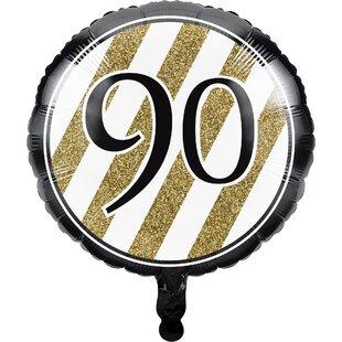 Black And Gold 90th Birthday Mylar Balloon