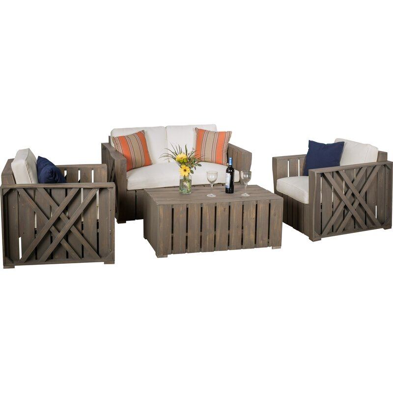 4 Piece Sofa Set With Cushions Amp Reviews Joss Amp Main