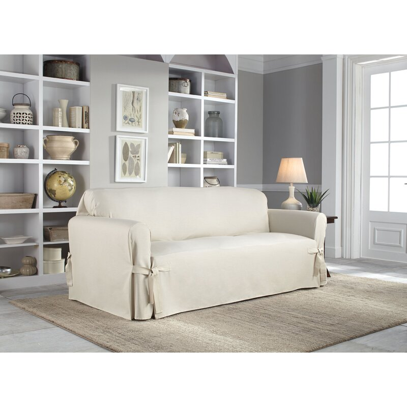 Cotton Duck Box Cushion Sofa Slipcover