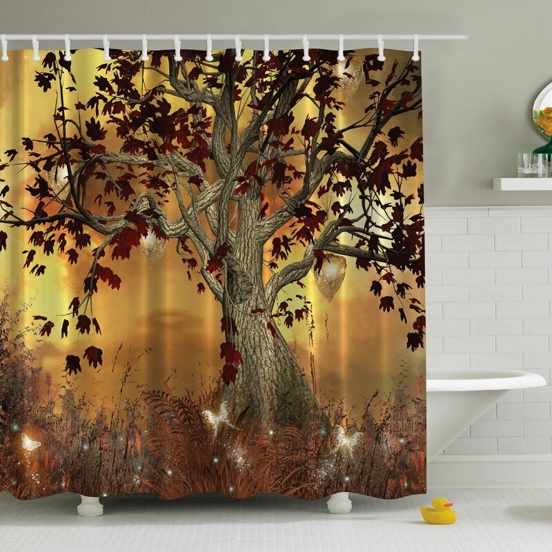 Bon Nella Old Scary Twisted Tree Print Shower Curtain