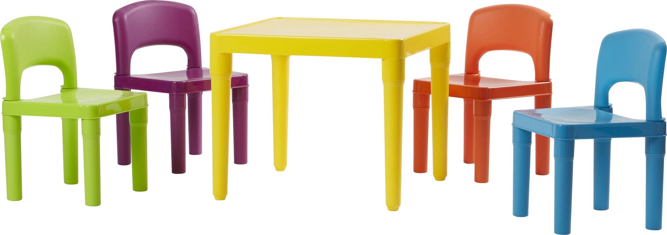 Jabari Kids 5 Piece Plastic Table and Chair Set  sc 1 st  Wayfair & Viv + Rae Jabari Kids 5 Piece Plastic Table and Chair Set ...