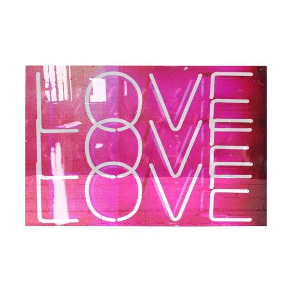 love neon lights high gloss textual art on canvas reviews allmodern