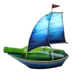 Tandy Blue Sailboat with Flag 1 Bottle Tabletop Wine Rack