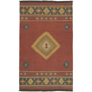 Double Mountain Hand Woven Wool Red Ivory Area Rug
