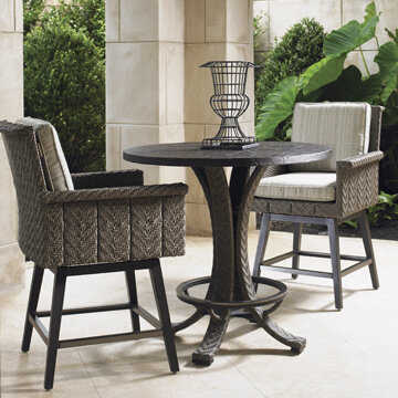 Superbe Tommy Bahama Home Blue Olive 3 Piece Bar Height Dining Set With Cushions    Wayfair