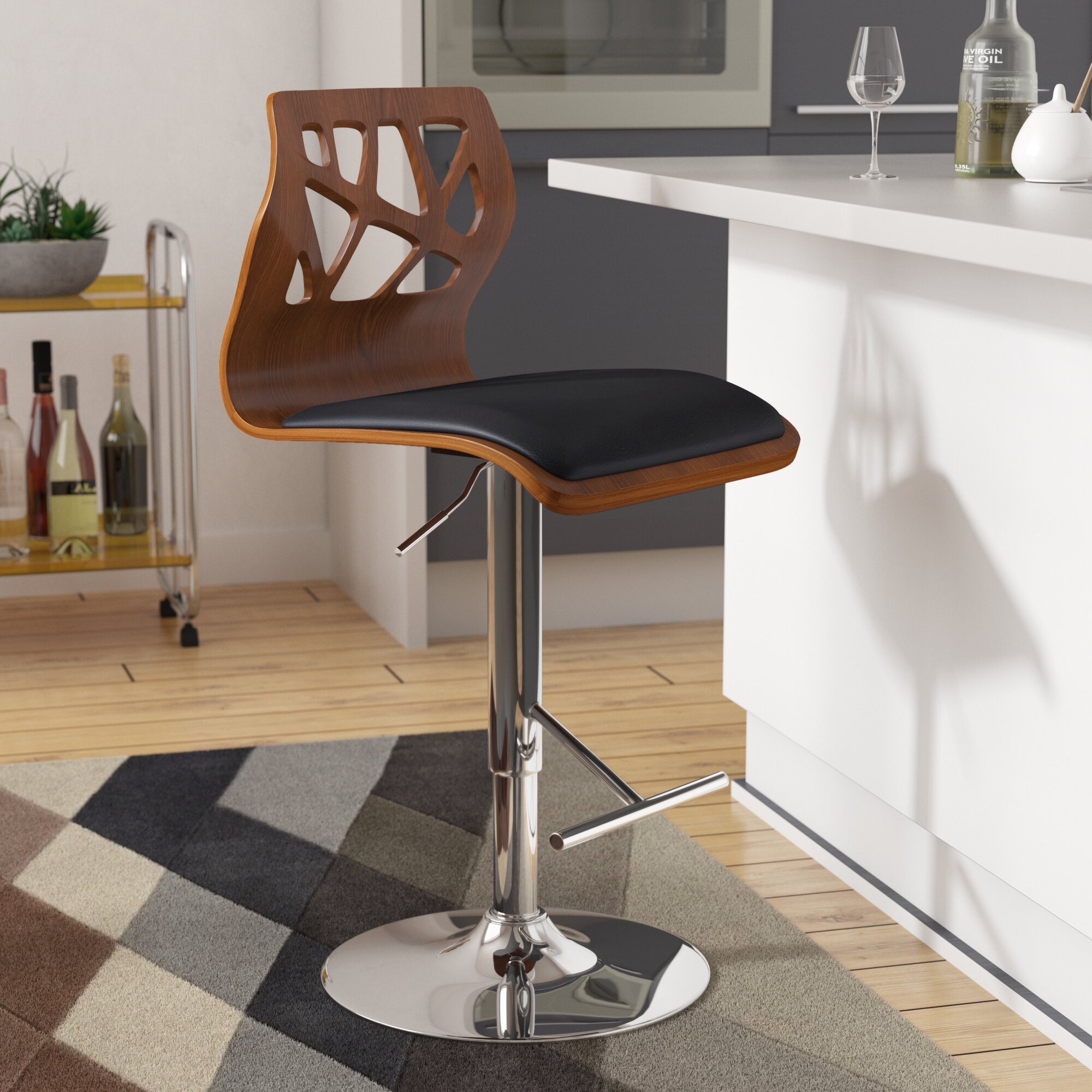 100% True Europe Retro Style Height Adjustable Bar Chair With Footrest Wood Backrest Swivel Bar Stool Counter Coffee Pub Chair Barstool Packing Of Nominated Brand Bar Furniture Bar Chairs