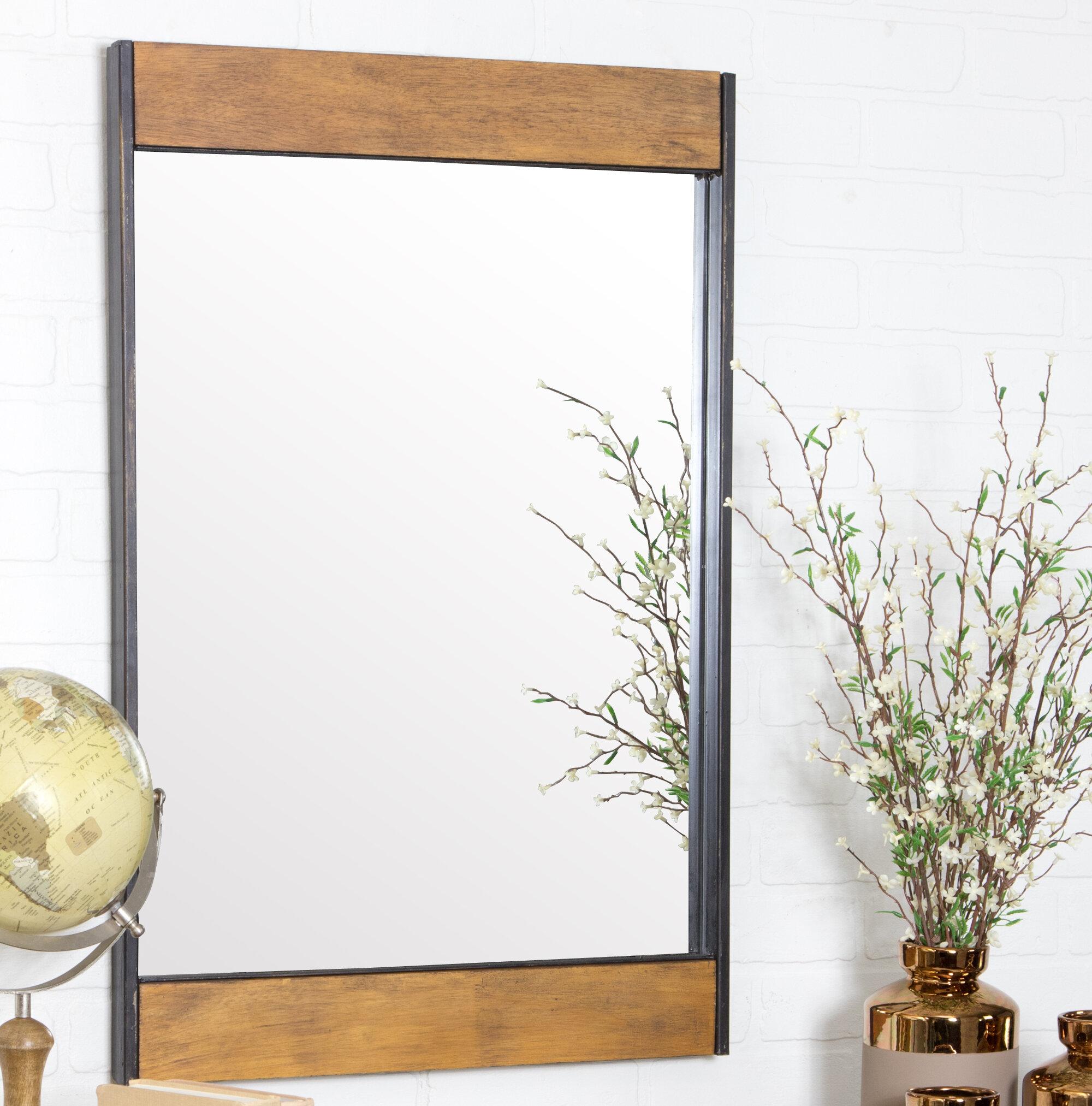 Gracie Oaks Vereen Wood and Metal Wall Mirror & Reviews | Wayfair