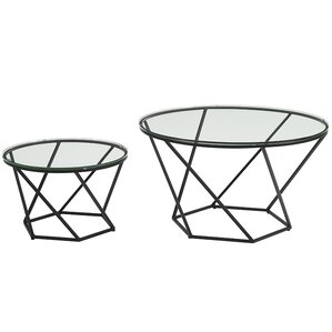 Aman Geometric Glass 2 Piece Coffee Table Set by Everly Quinn
