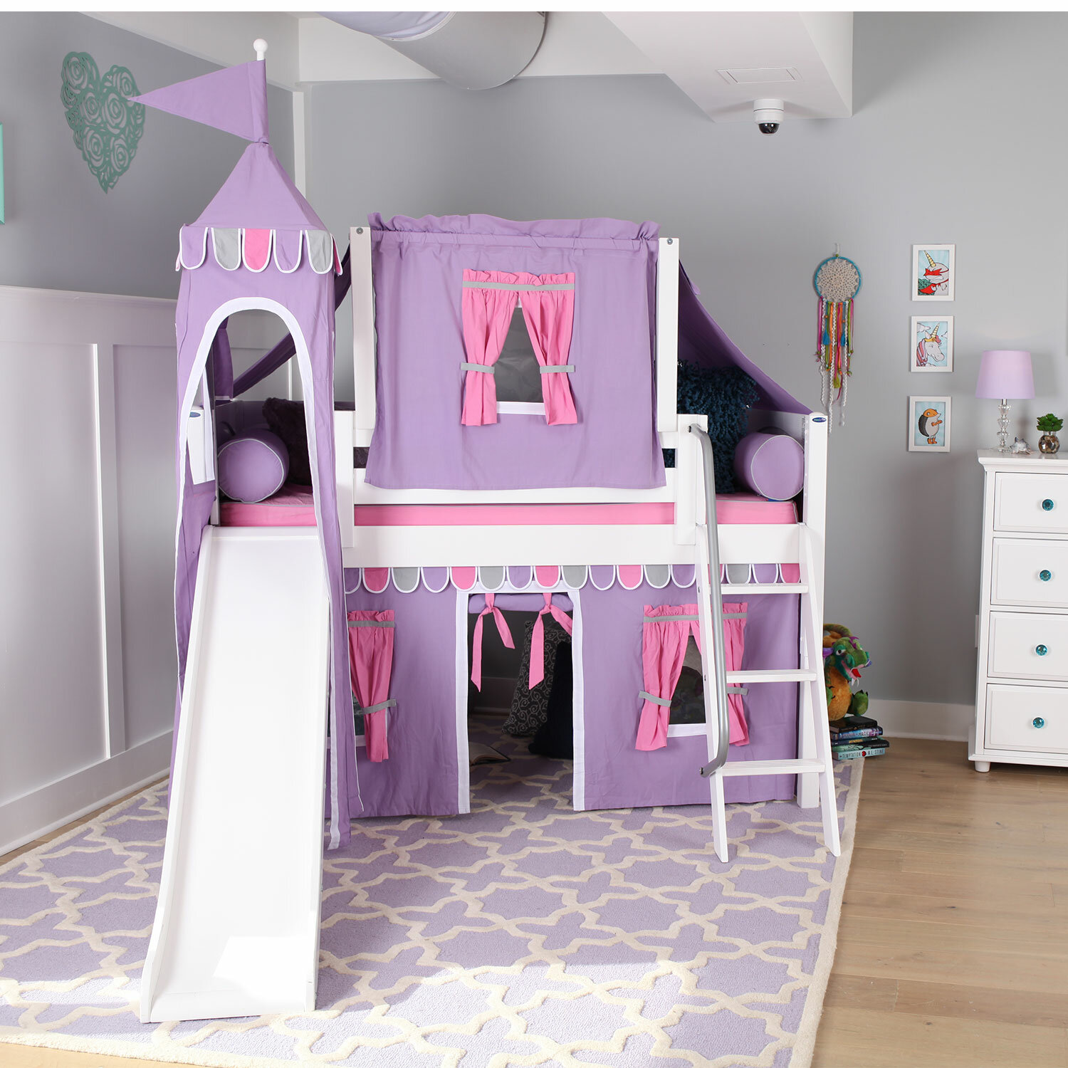 Maxtrix Kids Wow Loft Bed With Slide Tent And Curtains Wayfair