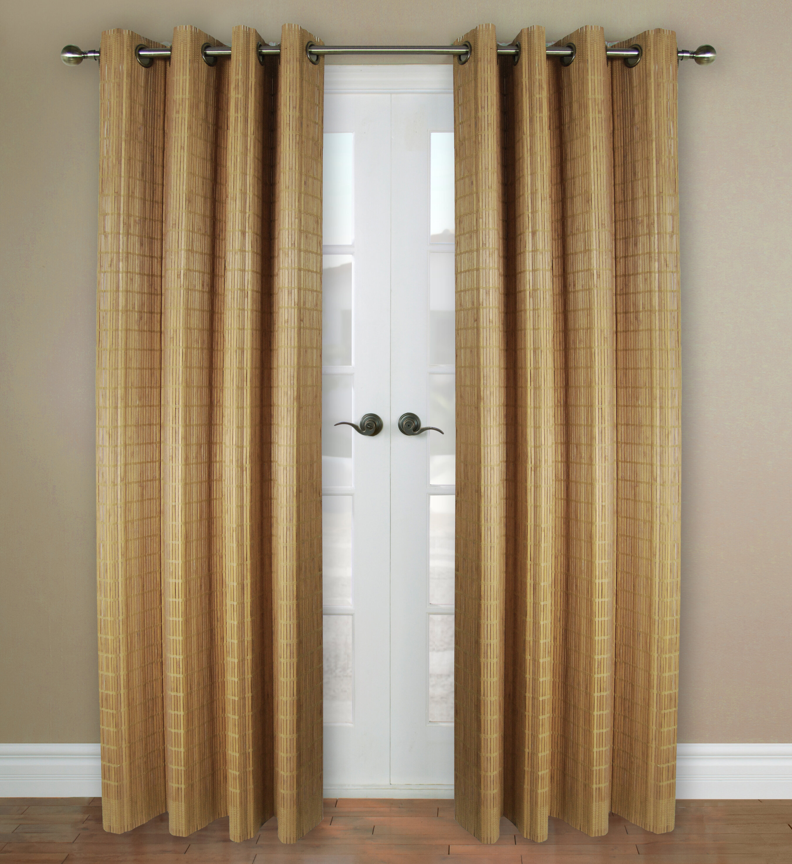 Versailles Home Fashions Bamboo Rayon Striped Semi Sheer Grommet Single Curtain Panel Reviews Wayfair