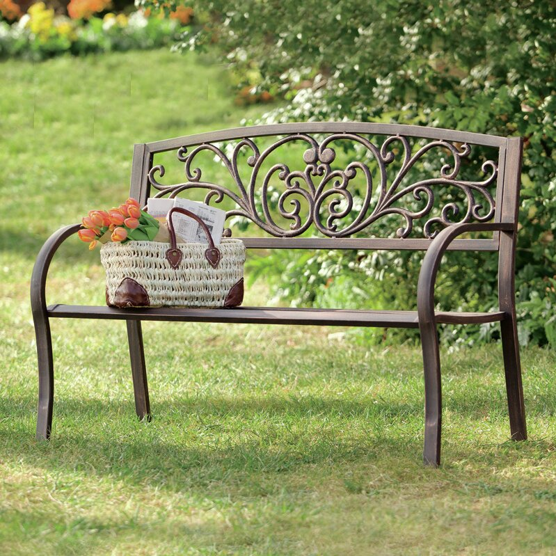 plow hearth blooming iron garden bench reviews wayfair