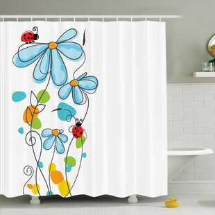 Lizbeth Cartoon Ladybugs Flowers Shower Curtain Set