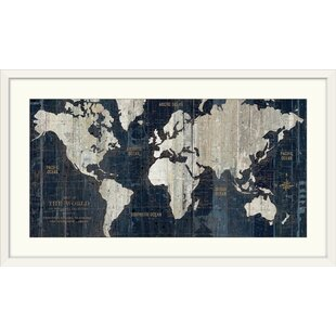 World map framed art youll love wayfair old world map blue graphic art print gumiabroncs Image collections