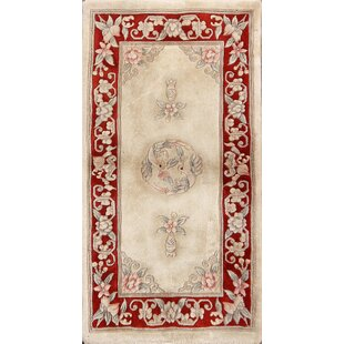 3cdf752f2538 Eliza Art Deco Nichols Chinese Traditional Oriental Hand-Knotted Wool  Beige Red Area Rug
