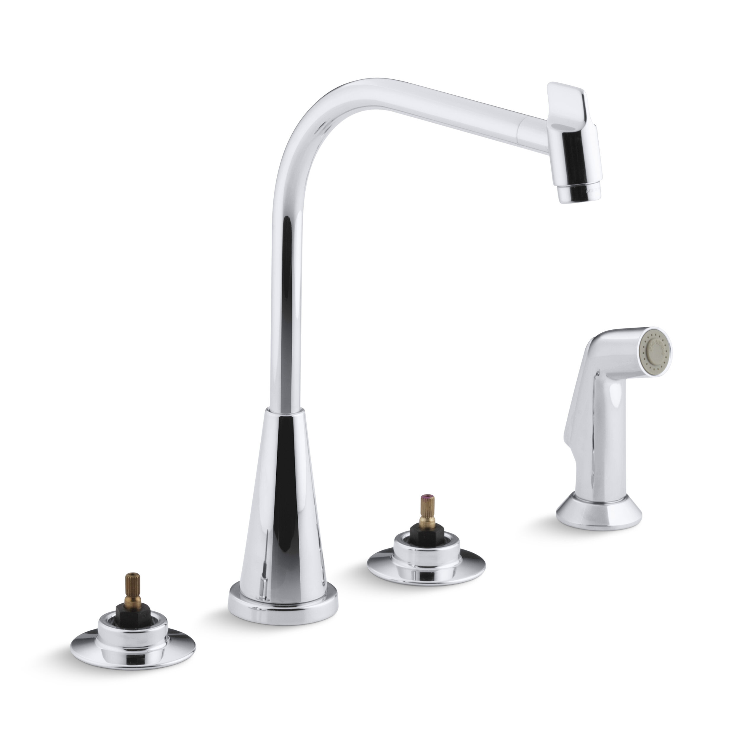 K 7779 k cp triton 4 hole widespread kitchen sink faucet with 8 multi swivel spout and matching finish sidespray requires handles