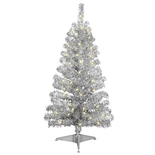4 silver artificial christmas tree with 70 clear lights with stand - White And Silver Christmas Tree