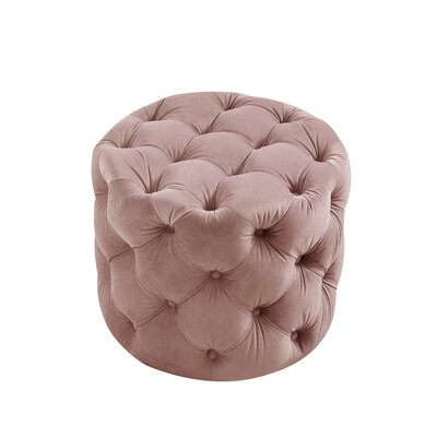 House of Hampton Mucha Tufted Cube Ottoman Upholstery Material/Body Fabric: Velvet, Upholstery Color: Blush