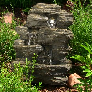 Polystone Rock Falls Outdoor Waterfall Fountain With LED Light