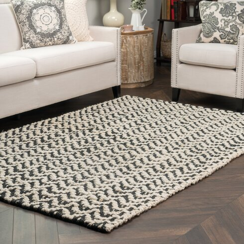 Devisal Hand Woven Black White Area Rug